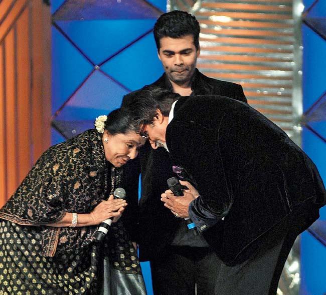 Asha Bhosle and Amitabh Bachchan, Karan Johar