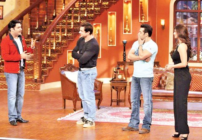 Kapil Sharma, Sohail Khan, Salman Khan and Daisy Shah on the sets of Comedy Nights with Kapil