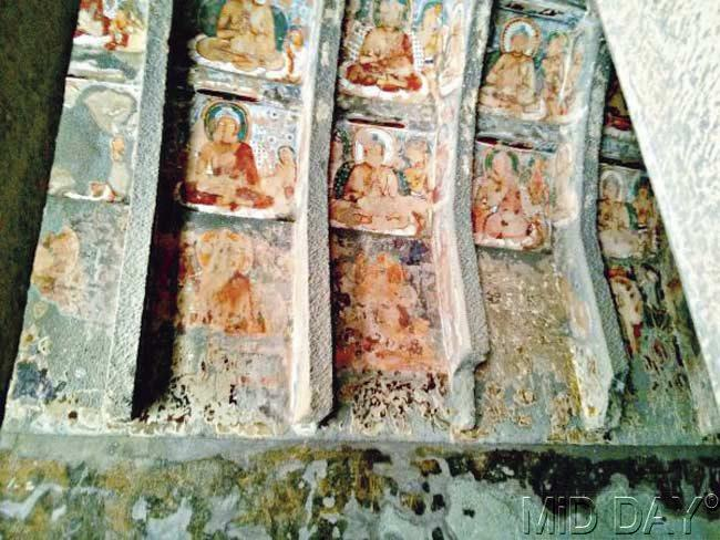 Paintings with vibrant colours on the walls of Ellora Caves. Pic/ Parul Sharma