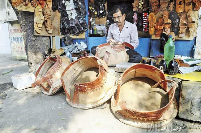 Asharam Waghmare, the Borivli based cobbler, was paid Rs 40,000 to make these shoes for Pandey's elephant. Pic/Nimesh Dave