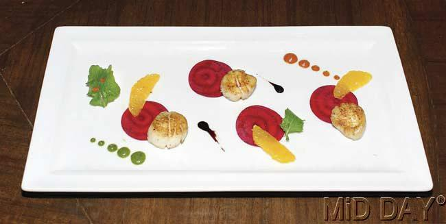 Beetroot Carpaccio by Chef Rajeev Arora, Levo Restaurant and Lounge. Pic/Amit Jadhav