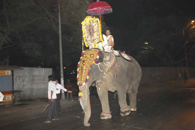 Laxmi at the religious event in Powai on Monday night