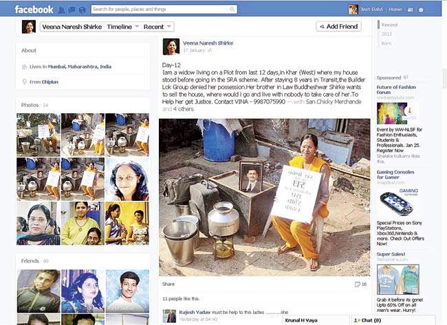 Veena's Facebook page shows her living in an open plot, surrounded by her utensils, suitcases and a stool. The dispute over the apartment started after the death of her husband