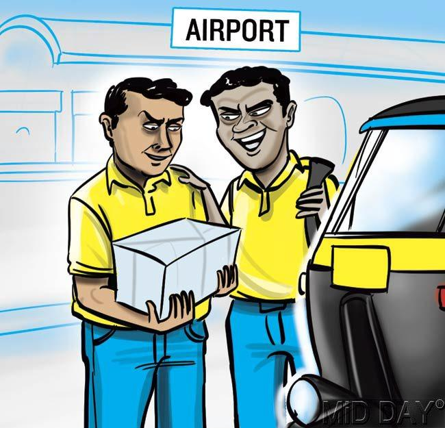 On January 17, two employees of a new courier company – New Bharat Air Company – were given the responsibility of collecting a consignment of 2.5 kg gold valuables from the airport. The two, Dilip Das and Manish Mishra, decided to rob their boss and blame it on a gang of fake cops. They were copying the modus operandi of a November heist – a Kalbadevi-based courier firm was robbed of Rs 6 crore in valuables by its employees, whose accomplices posed as policemen to make away with the valuables ('Fake police make away with valuables', November 16). Das and Mishra picked up the consignment in an auto rickshaw on Friday.