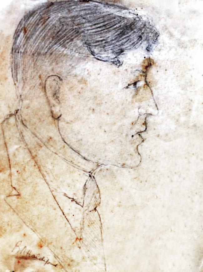 A sketch of Godse made by Balchandra Haldipur, an inspector working on the case in 1948