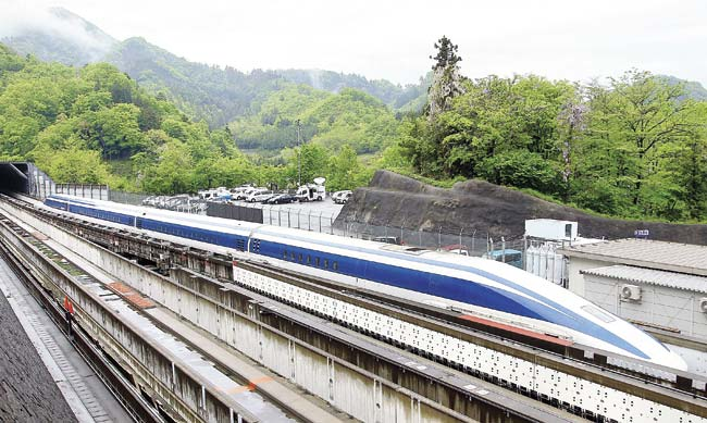 Test run of a magnetically levitated (Maglev) train in Tsuru, Japan. File pic/Getty Images