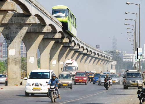 Monorail chugs through dense fog during a recent test run in Wadala