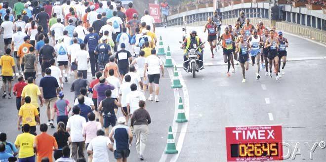 Elite athletes take the flyover real easy-peasy. Pic/Suresh KK