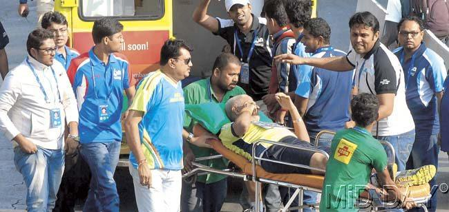 A runner had to be stretchered away after he suffered dehydration during the marathon