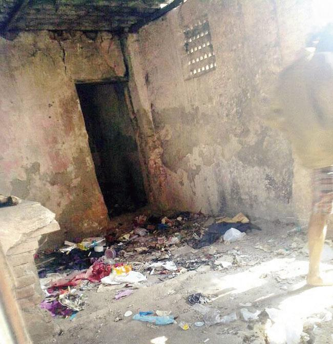 The dilapidated police chowki that now serves as a den for drug addicts