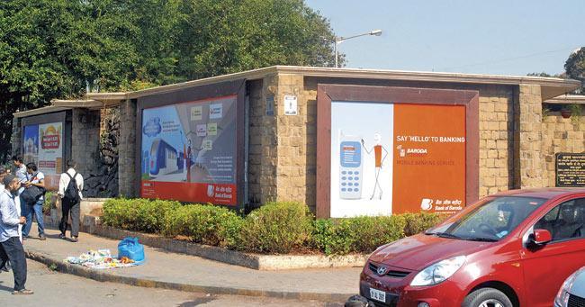 An advertisement on a public toilet near Chhatrapati Shivaji Terminus. Pic/Shadab Khan