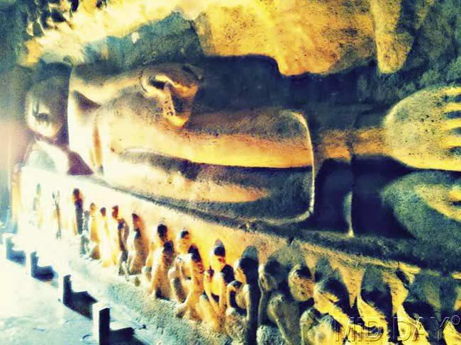 The sleeping Buddha statue at Ajanta. Pic/ Parul Sharma