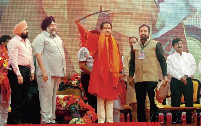 Saffron power: Shiv Sena President Uddhav Thackeray was applauded by lakhs of supporters who had come out to the Somaiya Grounds in Chunabhatti. During the rally, Thackeray proclaimed he was proud to be Hindu.
