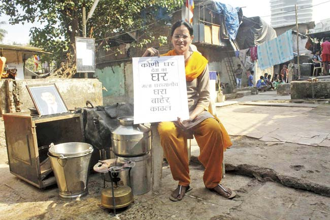 As a gesture of protest, Veena has been camping out in the open, just outside the redeveloped chawl where she once had a home