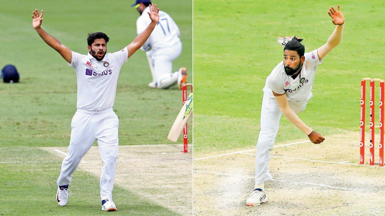 Shardul Thakur and Mohammed Siraj. Pics/AP, PTI