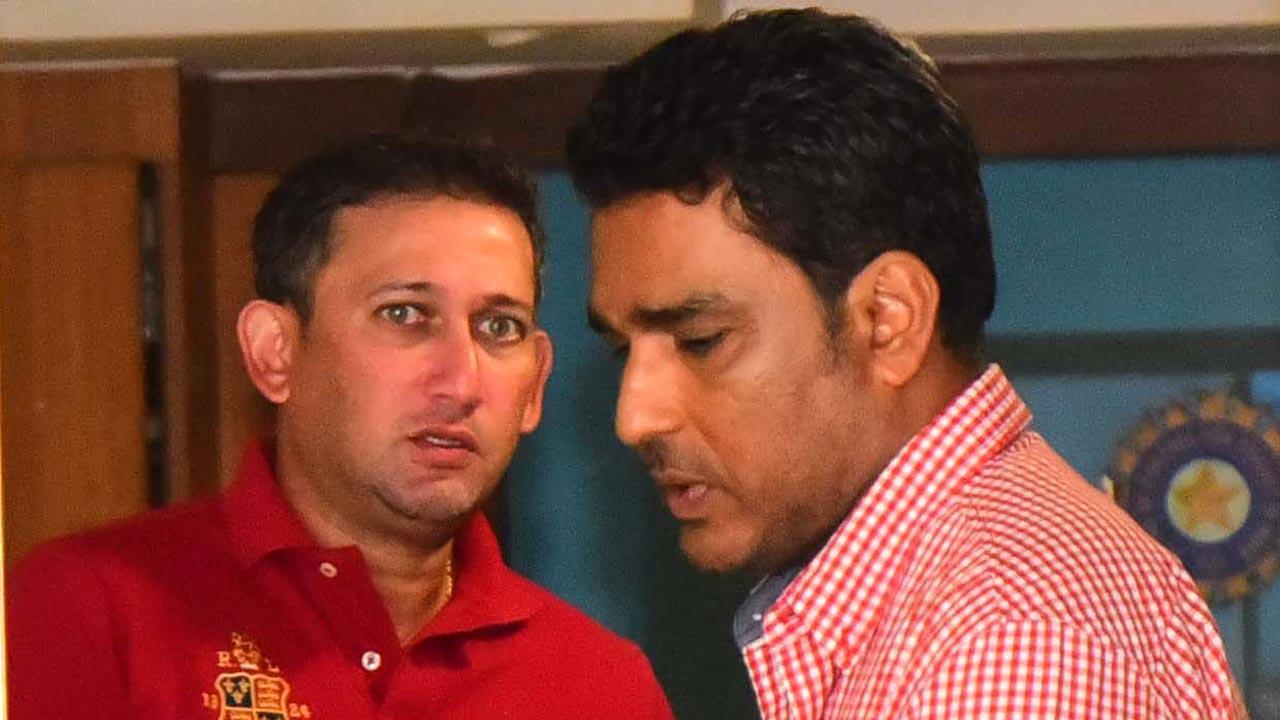Sanjay Manjrekar with Ajit Agarkar. Pic/Suresh Karkera