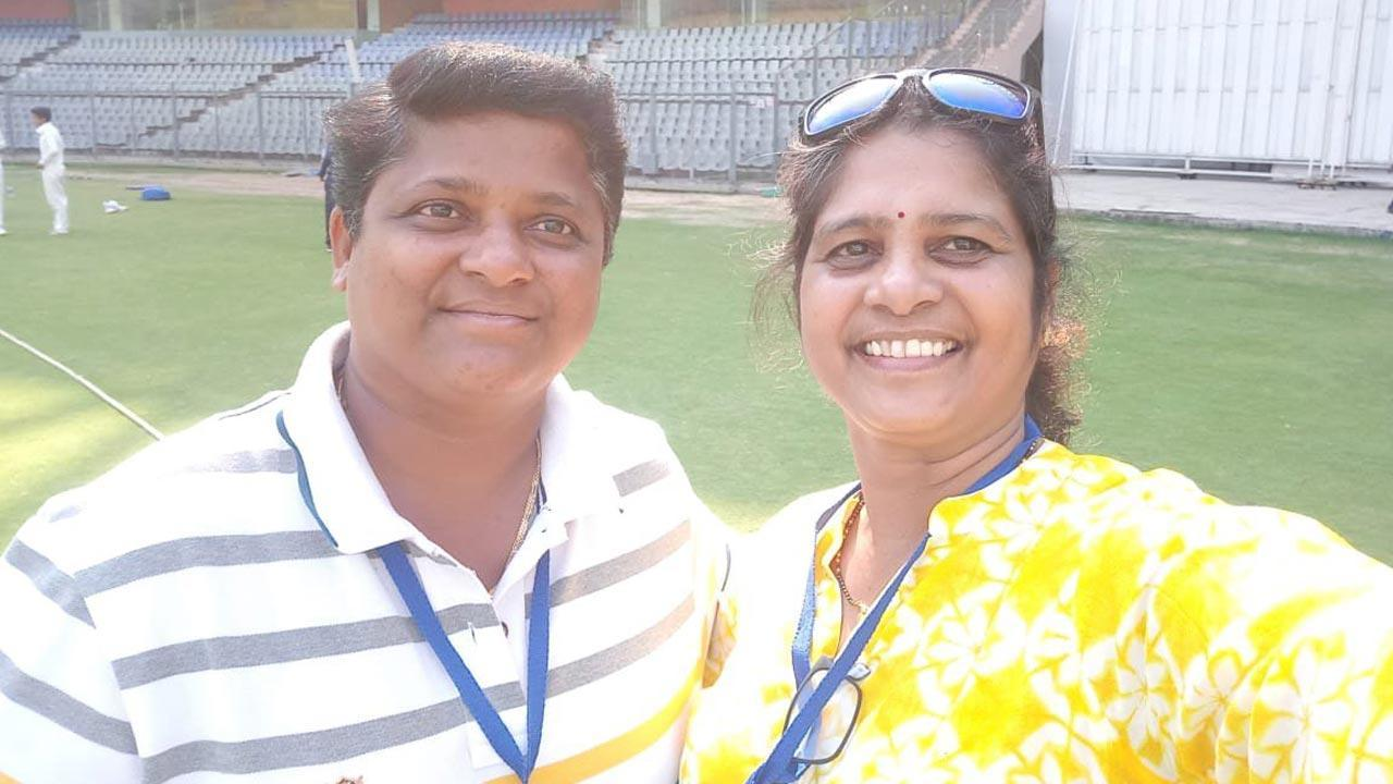 Ranjita Rane (left) with her Mumbai captain Hemangi Bhatte-Naik, when Rane was a liaising officer of Central Zone women's team during Inter Zonal U-19 Championship at the Wankhede Stadium in February 2018